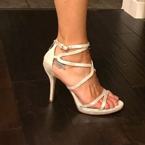 Bebe new silver strappy heels size 10